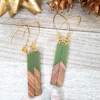 Sage Green Wood and Resin Bar Earrings