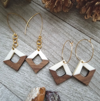White Wood and Resin Diamond Shaped Earrings