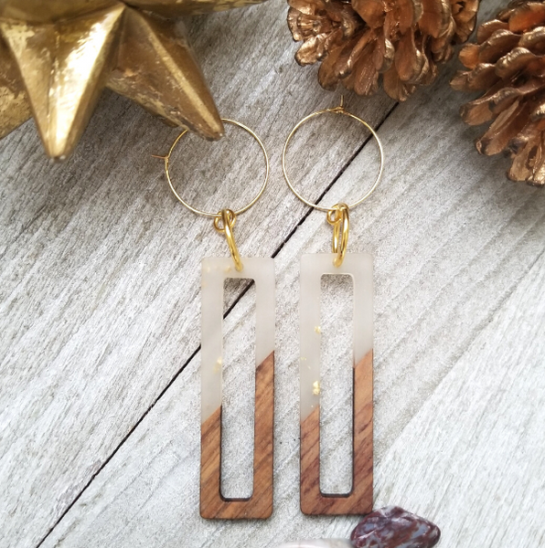 Wood and Resin Rectangle Earrings with Gold Flecks