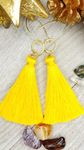 Dark Yellow Gold Tassel Earrings With Choice of Accents