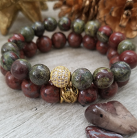 African Bloodstone and Red Brecciated Jasper Bracelet Set