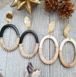 Rattan and Resin Oval Earrings