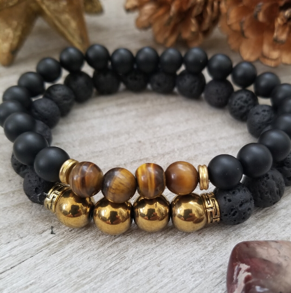 Black Onyx, Lava Stone, and Tiger's Eye Bracelet Set- Men
