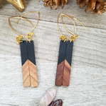 Black Wood and Resin Bar Earrings