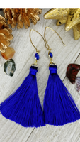 Blue Tassel Earrings With Lapis Accents