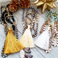 Long Crystal Necklaces with Tassel Accents
