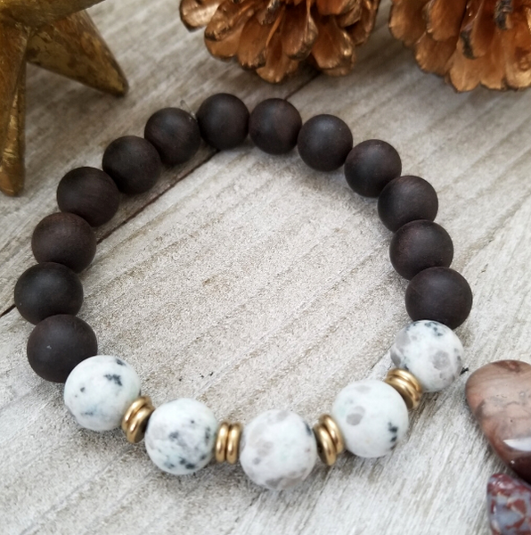 Ebony Sandalwood With Dalmatian Jasper