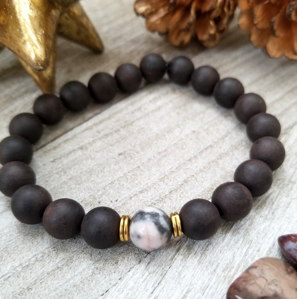 Ebony Sandalwood With Pink Zebra Jasper