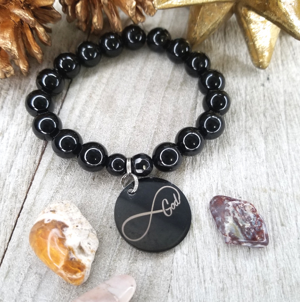 Black Onyx God is Infinite Bracelet