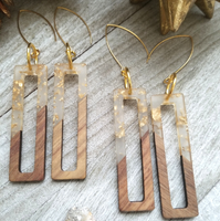 Clear and Gold Flecks Wood and Resin Rectangle Earrings