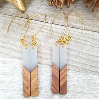 Gray Wood and Resin Bar Earrings