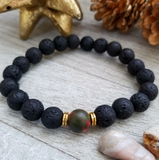 Lava Stone Beaded Bracelet with Green Pink Jasper Accent