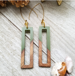 Green Wood and Resin Rectangle Earrings