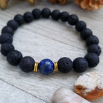 Lava Stone Beaded Bracelet with Blue Lapis Lazuli Accent