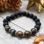 Lava Stone Beaded Bracelet with African Bloodstone Accent