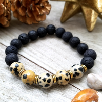Lava Stone Beaded Bracelet with Dalmatian Jasper Accent