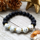 Lava Stone Beaded Bracelet with Gray Blue Dalmatian Jasper Accent