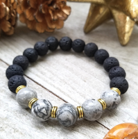 Lava Stone Beaded Bracelet with Gray Jasper Accent