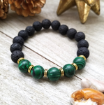 Lava Stone Beaded Bracelet with Malachite Accent