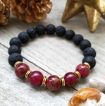 Lava Stone Beaded Bracelet with Mosaic Quartz Accent