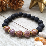 Lava Stone Beaded Bracelet with Purple Flower Agate Accent