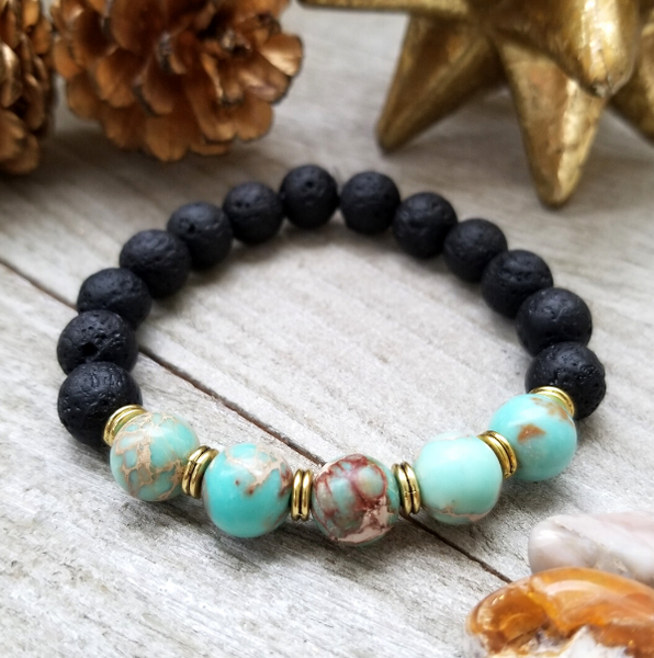 Lava Stone Beaded Bracelet with Teal Sea Sediment Jasper Accent