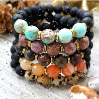 Lava Stone Beaded Bracelet with Pink Zebra Jasper Accent