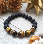Lava Stone Beaded Bracelet with Tigers Eye Accent