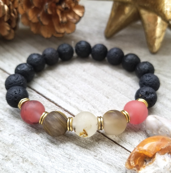 Lava Stone Beaded Bracelet with Strawberry Quartz Accent