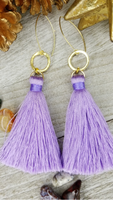 Lavender Tassel Earrings With Gold Plated Accents