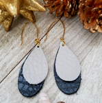 Layered Natural Leather Earrings- Light Gray and Black