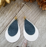 Layered Natural Leather Earrings- Dark Green and White