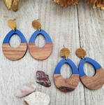 Blue Wood and Resin Keyhole Earrings