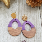 Purple Wood and Resin Keyhole Earrings