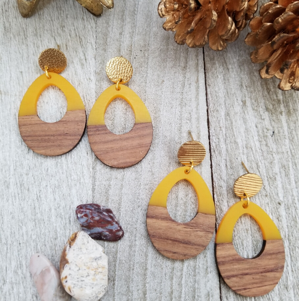 Yellow Wood and Resin Keyhole Earrings