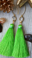 Medium Length Lime Green Tassel Earrings With Gold Plated Accents