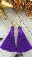 Purple Tassel Earrings With Gold Plated Accents