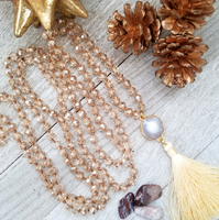 Long Cream/Yellow Crystal Necklace with Geode and Cream Tassel