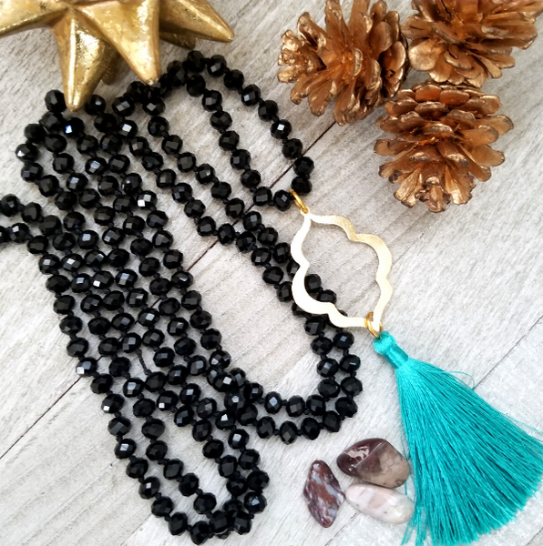 Long Black Crystal Necklace with Teal Tassel