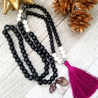 Long Black Agate Necklace with Magenta Tassel
