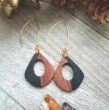 Black Wood and Resin Keyhole Earrings