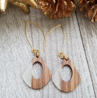 Clear Wood and Resin Keyhole Earrings