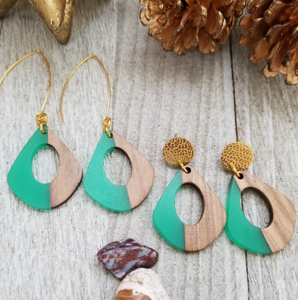 Green Wood and Resin Keyhole Earrings