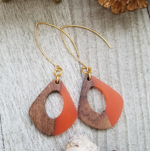 Orange Wood and Resin Keyhole Earrings