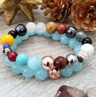 Mixed Gems and Blue Agate Bracelet Set