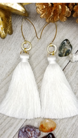 Off-White Tassel Earrings With Gold Plated Accents