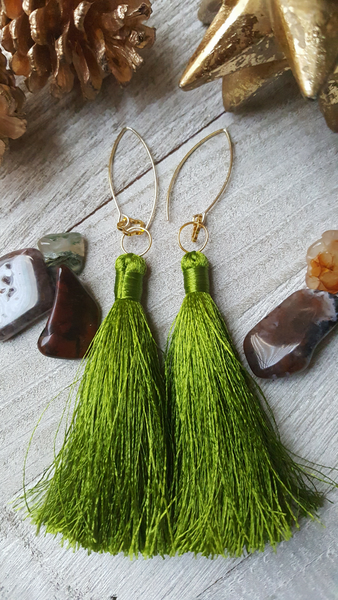 Olive Green Tassel Earrings With Gold Plated Accents