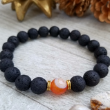 Lava Stone Beaded Bracelet with Orange Agate Accent