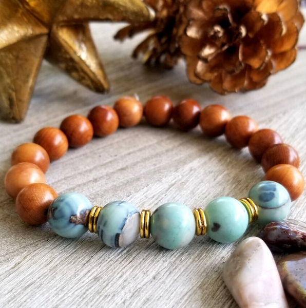 Pearwood With Teal Agate