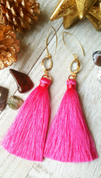 Hot Pink Tassel Earrings With Gold Plated Accents
